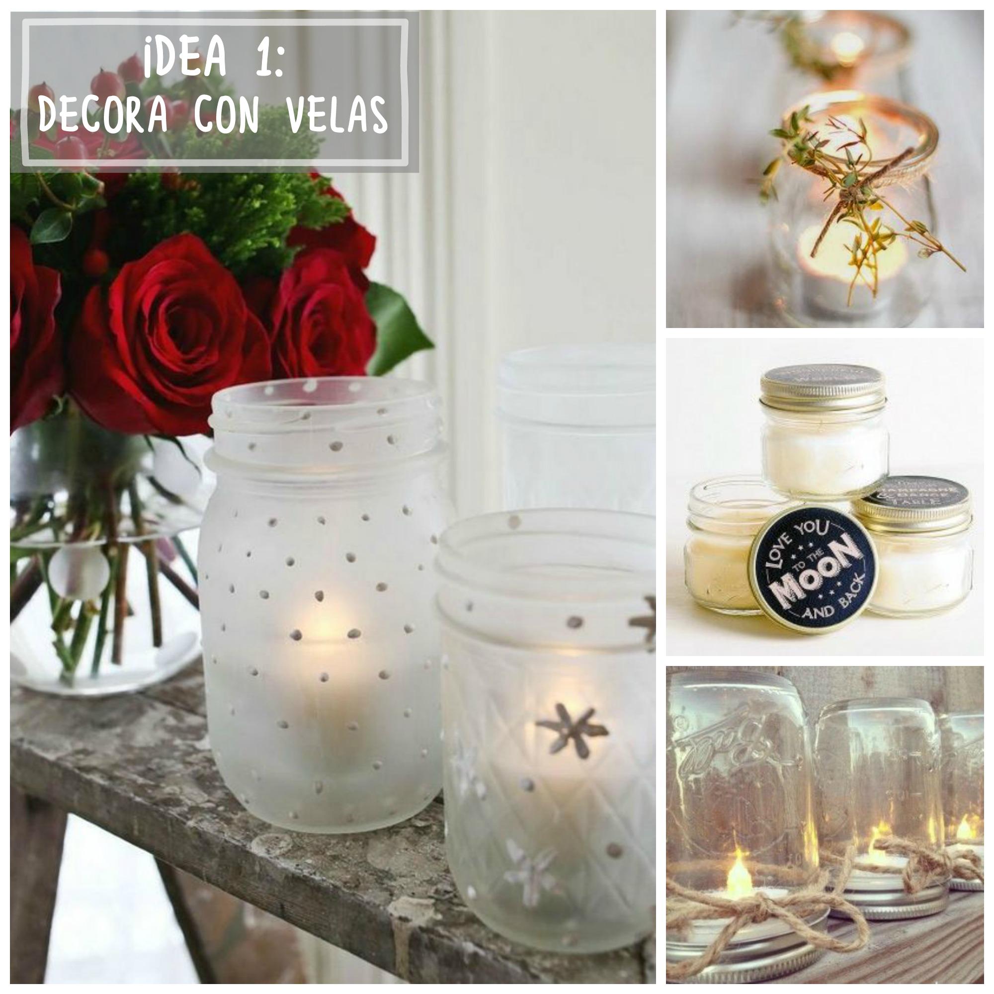 ideas para decorar con tarros de cristal