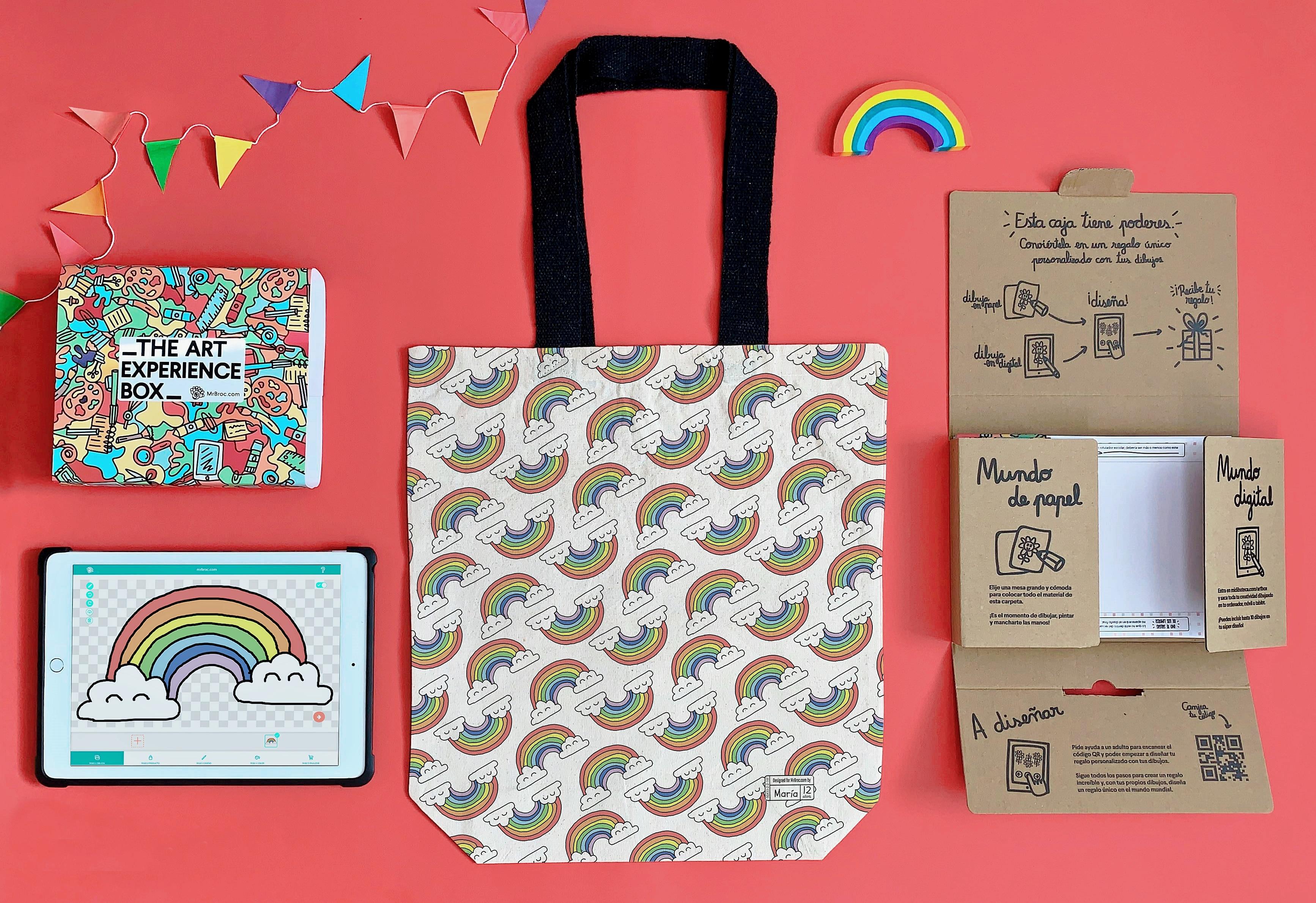 The art experience box con eco tote bag personalizada