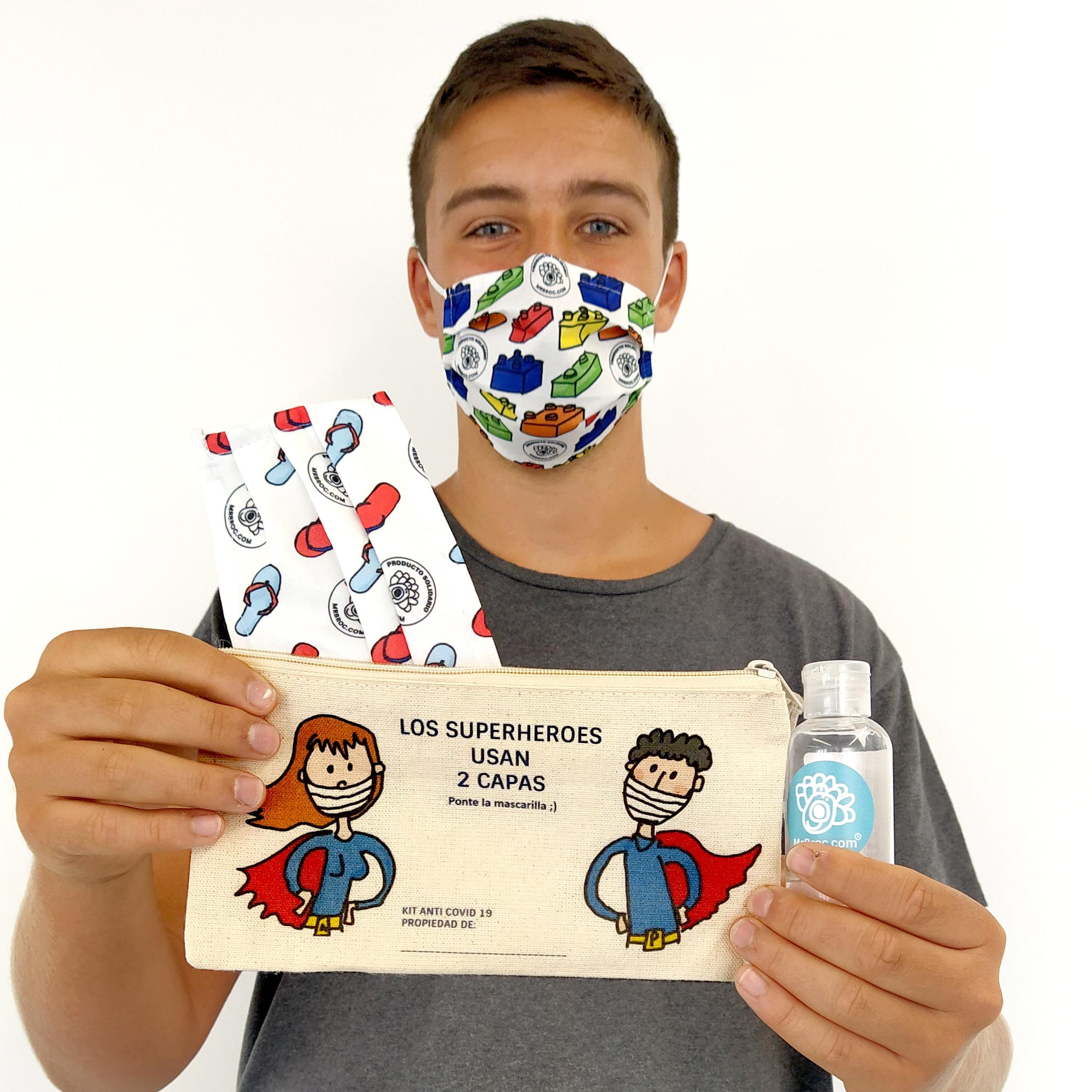 kit anti covid: neceser, pack mascarillas, gel hidroalcoholico