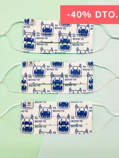 Pack de mascarillas higiénicas estampado bichos
