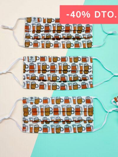 Pack de mascarillas higiénicas estampado bóxer