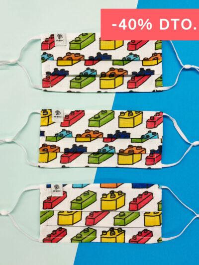 Pack de mascarillas higiénicas estampado legos