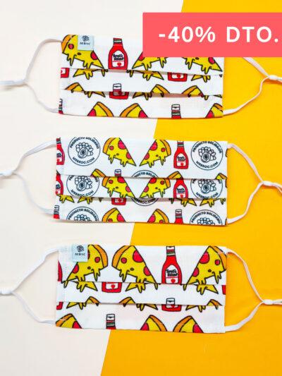 Pack de mascarillas higiénicas estampado pizzas